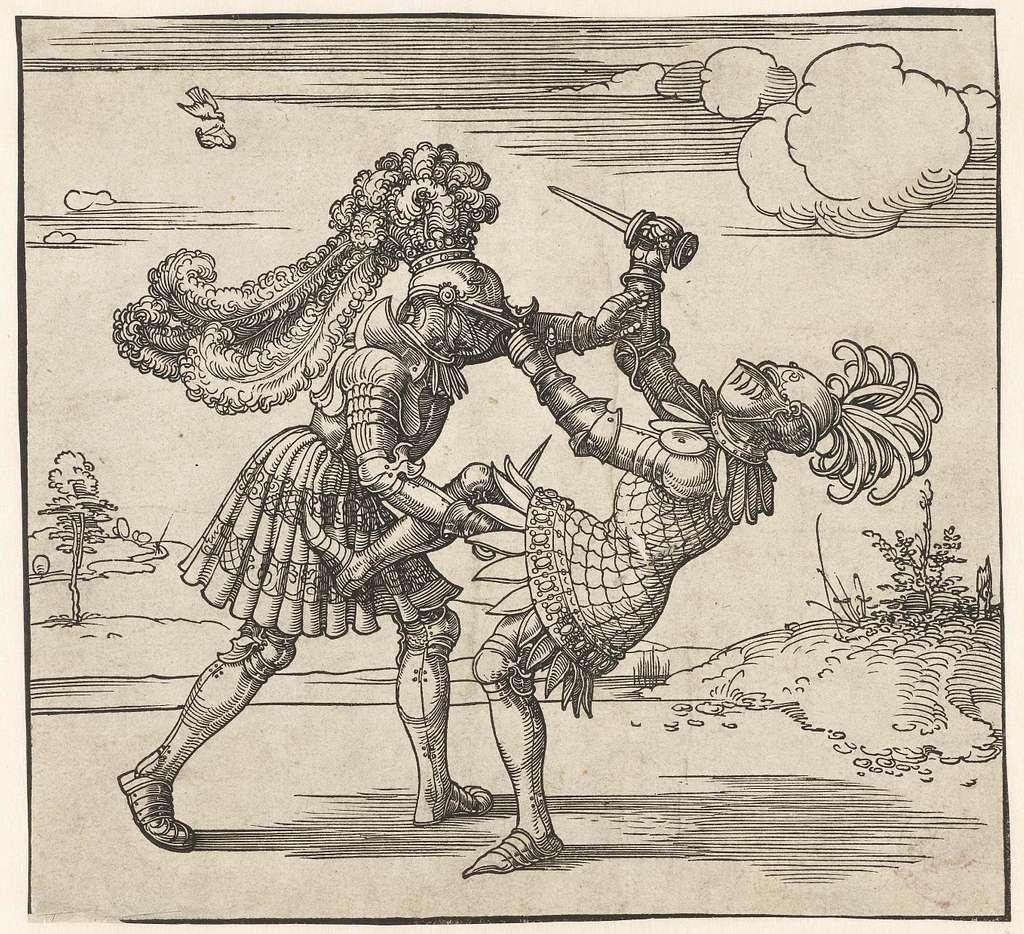 Twee ridders in gevecht
